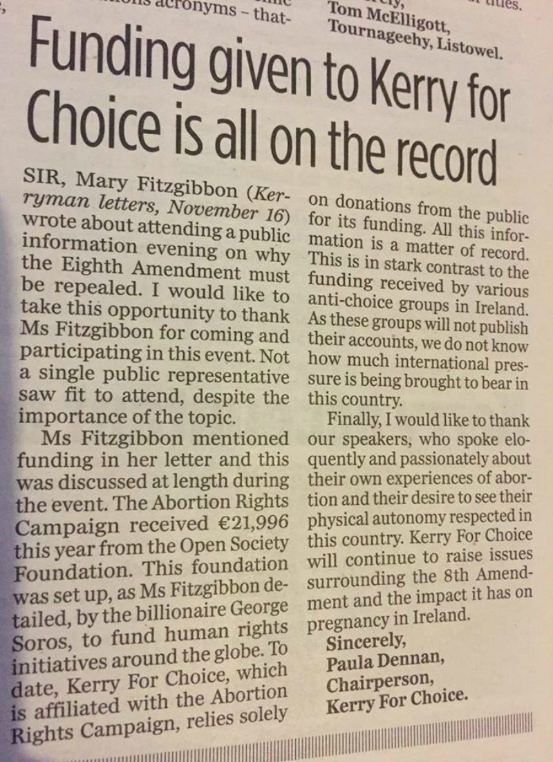Funding Given to Kerry for Choice is all on the Record