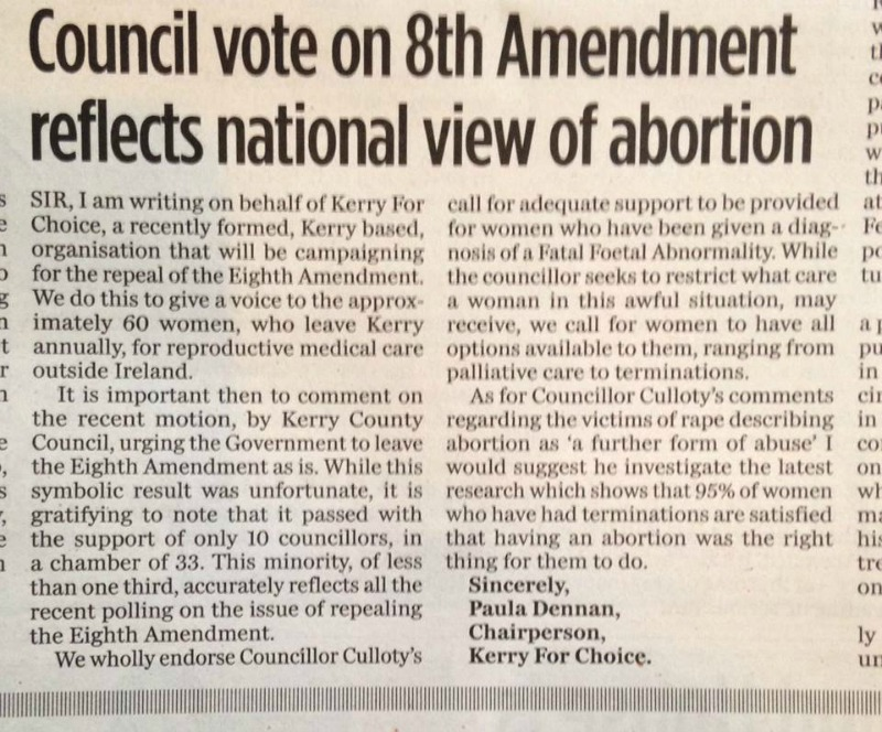 Kerry County Council Vote to Keep the Eighth Amendment
