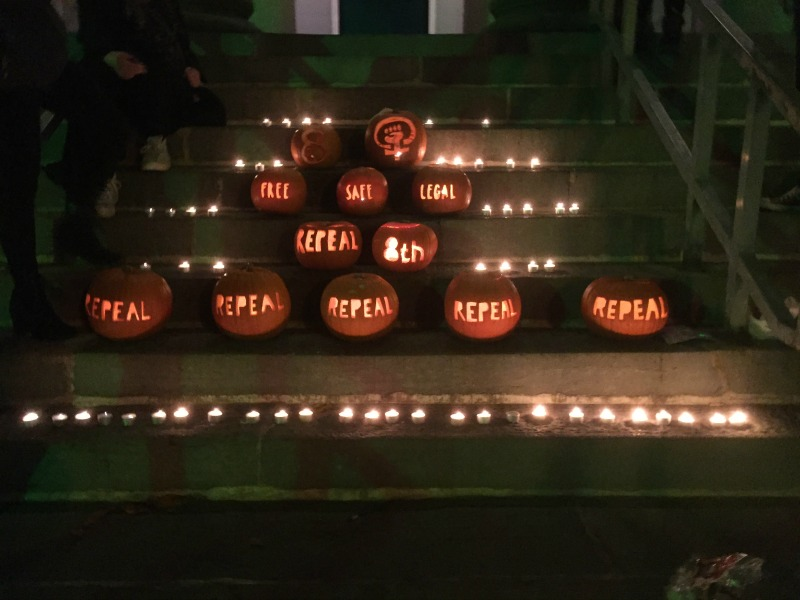Kerry for Choice Place Repeal Pumpkins on Tralee Courthouse Steps
